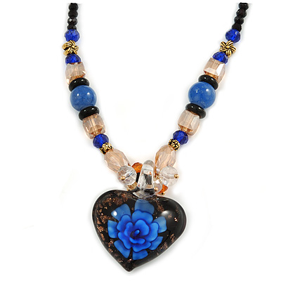 Blue/ Black/ Champagne Crystal, Ceramic, Glass Bead Heart Necklace - 44cm L