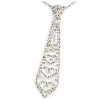 Star Quality Clear Austrian Crystal Tie Necklace In Silver Tone Metal - 32cm L/ 15cm Ext/ 21cm Tie - main view