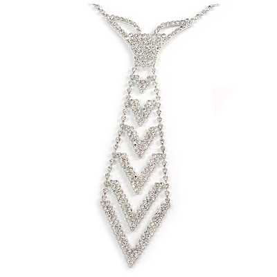 Star Quality Clear Austrian Crystal Tie Necklace In Silver Tone Metal - 30cm L/ 15cm Ext /16cm Tie