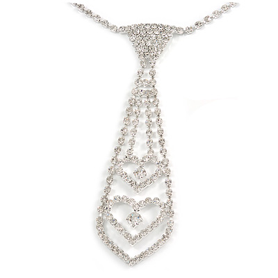 Small Clear Austrian Crystal Double Heart Tie Necklace In Silver Tone Metal - 28cm L/ 17cm Ext /12cm Tie