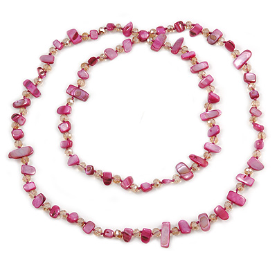 Long Magenta Shell/ Nude Glass Crystal Bead Necklace - 120cm L
