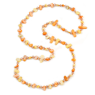 Long Orange/ Yellow Shell/ Transparent Glass Crystal Bead Necklace - 110cm L