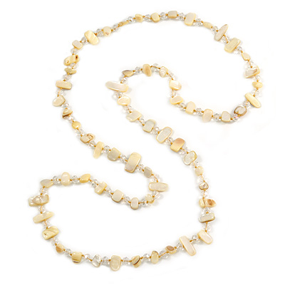 Long Pale Yellow Shell/ Transparent Glass Crystal Bead Necklace - 115cm L