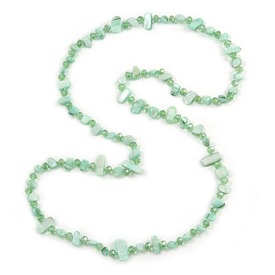 Long Pastel Green/ Mint Shell/ Green Glass Crystal Bead Necklace - 110cm L