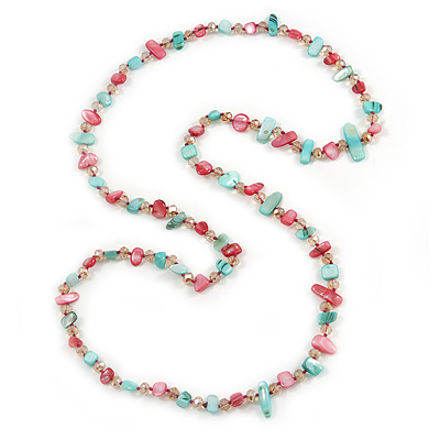 Long Mint, Magenta Shell/ Pale Pink Glass Crystal Bead Necklace - 115cm L