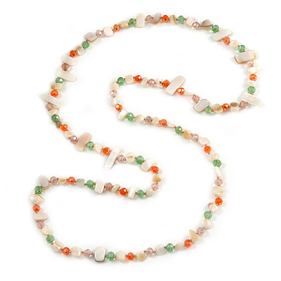 Long White Shell/ Orange, Green, Pink Glass Crystal Bead Necklace - 115cm L