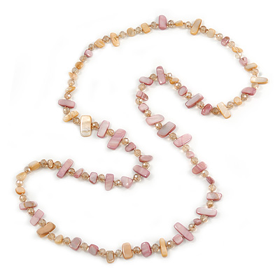 Long Pink/ Peach Shell/ Beige Glass Crystal Bead Necklace - 120cm L