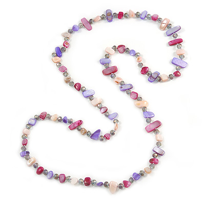 Long White, Purple, Magenta Shell/ Light Grey Glass Crystal Bead Necklace - 115cm L