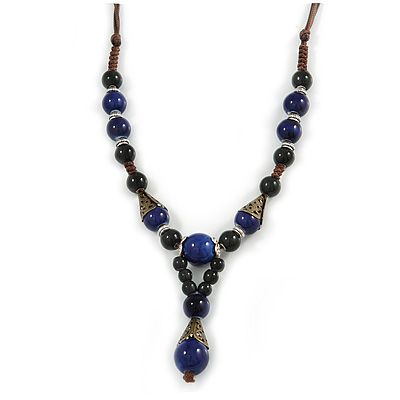 Blue, Black Ceramic Bead with Brown Silk Cords Necklace - 56cm to 80cm Long/ Adjustable