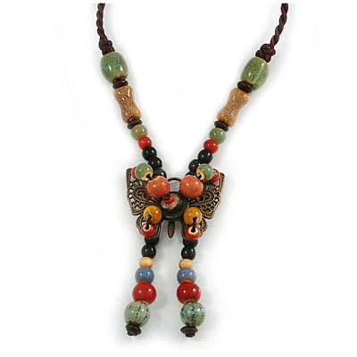 Bronze Tone, Multicoloured Ceramic Bead Butterfly Pendant with Brown Silk Cord Necklace - 76cm L/ 7cm Tassel - main view