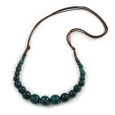 Teal Ceramic Bead Brown Silk Cords Necklace - Adjustable - 60cm to 70cm Long - main view