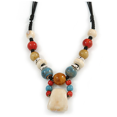 Pastel Multicoloured Ceramic Bead with Black Silk Cords Necklace - 50cm to 80cm Long/ Adjustable - main view