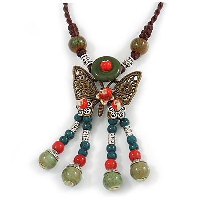 Bronze Tone, Ceramic Bead Butterfly Pendant with Brown Silk Cord Necklace - 72cm L/ 9cm Tassel - main view
