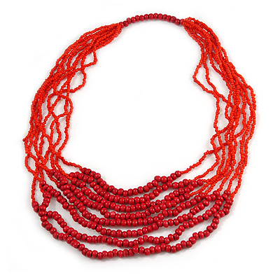Statement Cherry Red Wood and Fire Red Glass Bead Multistrand Necklace - 78cm L