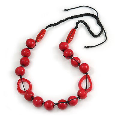Signature Wood, Ceramic, Acrylic Bead Black Cord Necklace (Raspberry Red) - 72cm L (Adjustable)