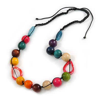 Signature Wood, Ceramic, Acrylic Bead Black Cord Necklace (Multicoloured) - 72cm L (Adjustable)