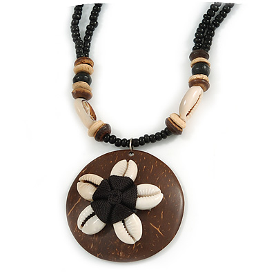 Brown/ Cream Coconut Shell Round Pendant with Black Glass Bead Chain Necklace - 41cm L