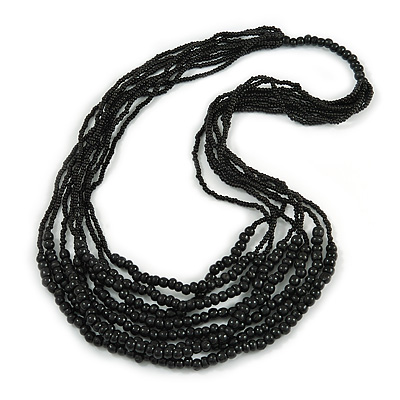 Statement Black Wood and Glass Bead Multistrand Necklace - 76cm L
