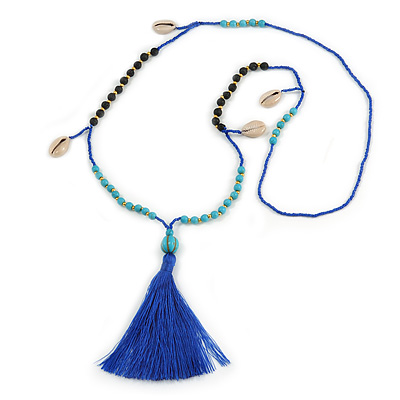 Trendy Turquoise, Sea Shell, Faux Tree Seed, Glass Bead Blue Cotton Tassel Long Necklace - 90cm L/ 12cm Tassel