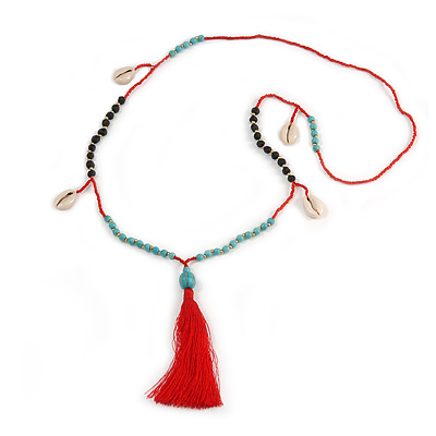 Trendy Turquoise, Sea Shell, Faux Tree Seed, Glass Bead Red Cotton Tassel Long Necklace - 90cm L/ 12cm Tassel