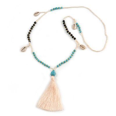 Trendy Turquoise, Sea Shell, Faux Tree Seed, White Glass Bead Cream Cotton Tassel Long Necklace - 90cm L/ 12cm Tassel