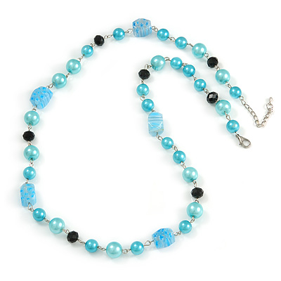 Light Blue Pearl, Black Glass and Ceramic Beaded Necklace - 72cm L/ 4cm Ext