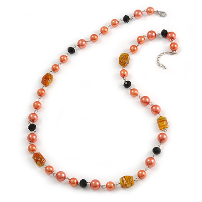 Peach Orange Pearl,  Black Glass and Ceramic Beaded Necklace - 72cm L/ 4cm Ext