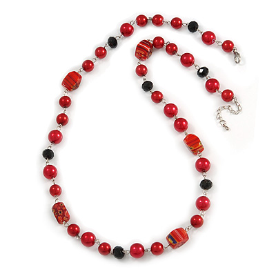 Red Pearl Style, Black Glass and Floral Ceramic Beaded Necklace - 72cm L/ 4cm Ext