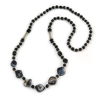 Statement Black Ceramic and Silver Metal Bead, Sea Shell Long Necklace - 86cm Long