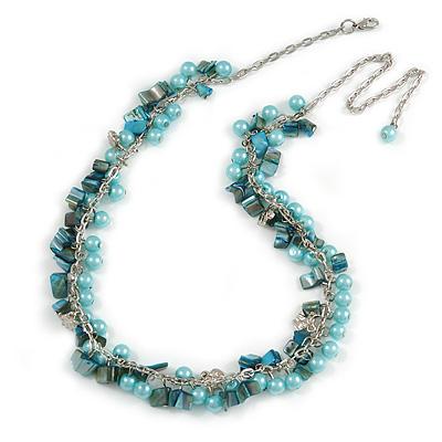 Statement Light Blue Glass, Teal Nugget Silver Tone Chain Necklace - 60cm L/ 8cm Ext