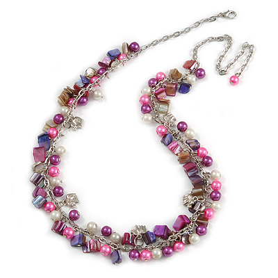 Statement Glass, Nugget Silver Tone Chain Necklace in (Pink, Purple, Cream) - 60cm L/ 8cm Ext - main view