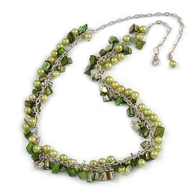 Green Glass Bead, Shell Nugget, Elephant Charm with Silver Tone Chain Necklace - 60cm L/ 10cm Ext