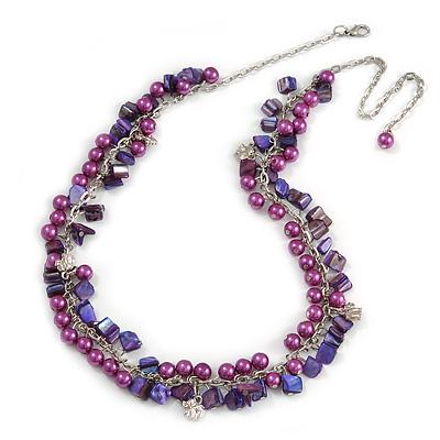 Statement Purple Glass, Violet Nugget Silver Tone Chain Necklace - 60cm L/ 8cm Ext