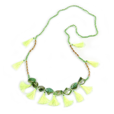 Statement Long Sea Shell, Crystal and Acrylic Bead with Multi Cotton Tassel Necklace (Green/ Neon Green/ Gold) - 96cm L