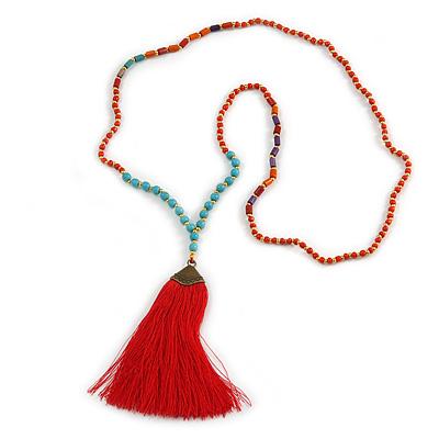 Ethnic Long Beaded Red Silk Tassel Necklace - 88cm Long/ 10cm Tassel