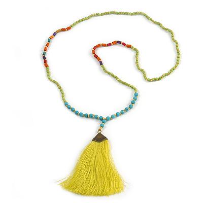 Ethnic Long Beaded Lime Green Silk Tassel Necklace - 88cm Long/ 10cm Tassel