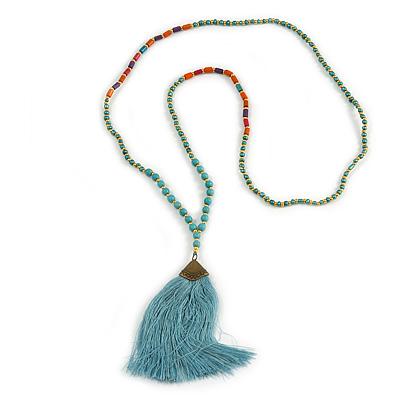 Ethnic Long Beaded Light Blue Silk Tassel Necklace - 88cm Long/ 10cm Tassel
