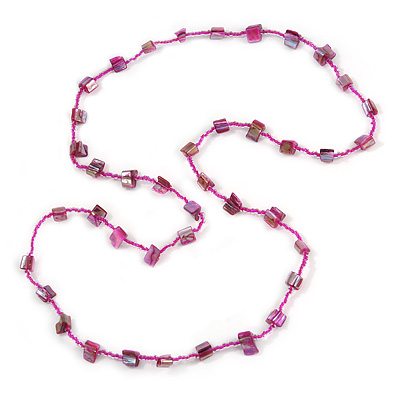 Classic Magenta Glass Bead, Sea Shell Nugget Long Necklace - 100cm Long