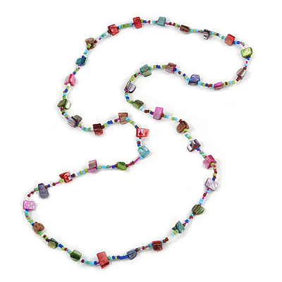 Classic Multicoloured Glass Bead, Sea Shell Nugget Long Necklace - 100cm Long