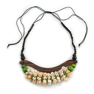 Statement Sea Shell, Lime Green/ Brown Wood Bead Black Cotton Cord Necklace - 42cm L (Min)/ Adjustable