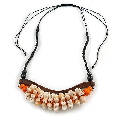 Statement Sea Shell, Orange/ Brown Wood Bead Black Cotton Cord Necklace - 42cm L (Min)/ Adjustable - main view