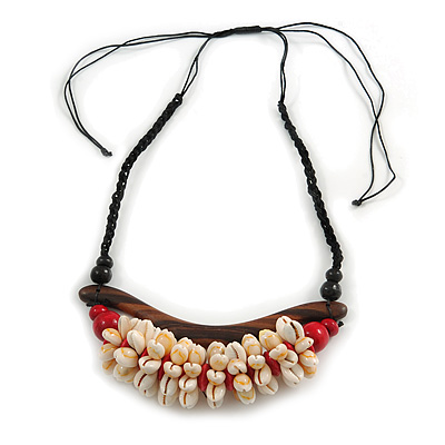 Statement Sea Shell, Wood Bead Cotton Cord Necklace - 42cm L (Min)/ Adjustable - main view