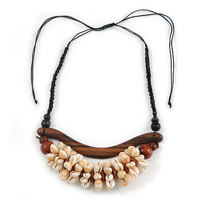 Statement Sea Shell, Brown Wood Bead Black Cotton Cord Necklace - 42cm L (Min)/ Adjustable - main view