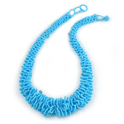 Chunky Light Blue Glass Bead and Semiprecious Necklace - 56cm Long