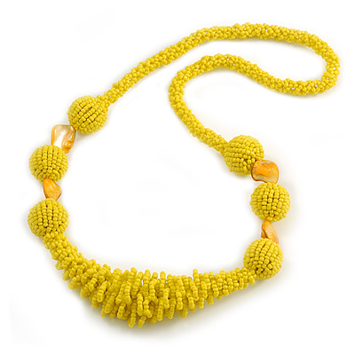 Chunky Yellow Glass and Shell Bead Necklace - 70cm L - main view