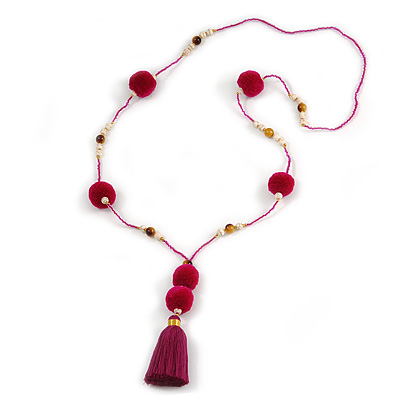 Fuchsia/ Purple Glass Bead, Pom Pom, Tassel Long Necklace - 88cm L/ 10cm Tassel
