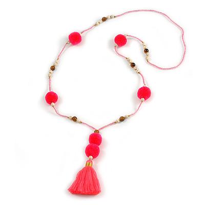 Deep Pink/ Neon Pink Glass Bead, Pom Pom, Tassel Long Necklace - 88cm L/ 10cm Tassel