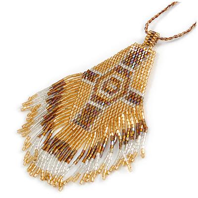 Bronze/ Gold/ Transparent Glass Bead Geometric Pattern Pendant with Long Cotton Cord - 80cm Long