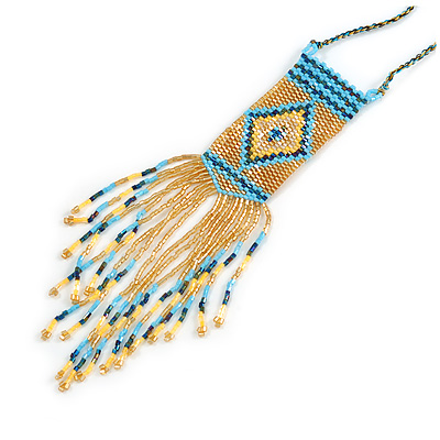 Gold/ Blue Glass Bead Geometric Pattern Square Pendant with Long Cotton Cord - 80cm Long