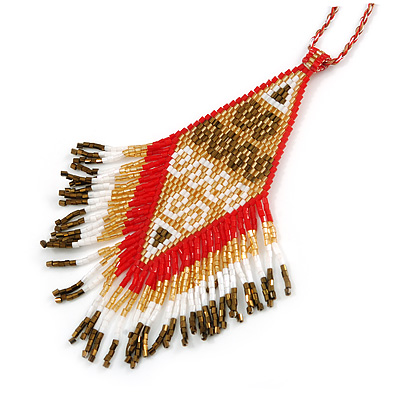 Red/ Brown/ Gold/ White Glass Bead Geometric Pattern Pendant with Long Cotton Cord - 80cm Long